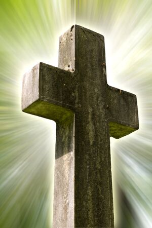 religious cross with a light background 스톡 사진