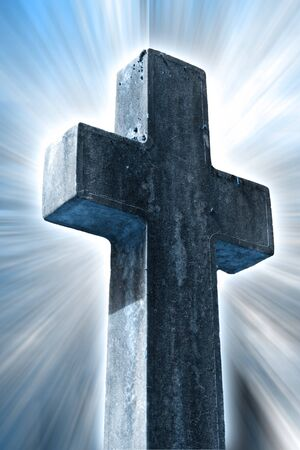 catholism: religious cross with a light background Stock Photo