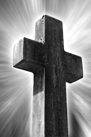 catholism: religious cross with a light background Stock Photo