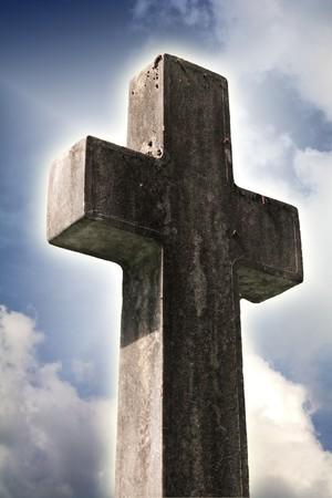 catholism: religious cross against smooth sky