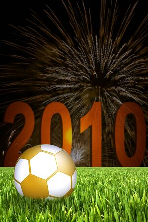 fire works: golden soccer ball with fire works in back Stock Photo