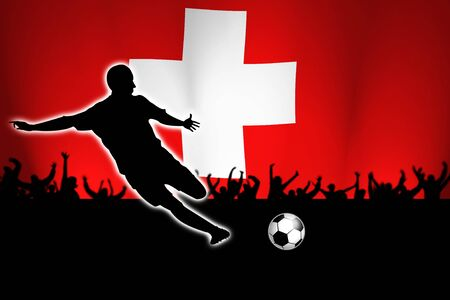 switzerland: football illustration with soccer player and swiss flag in back Stock Photo