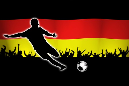football illustration with soccer player and german flag in back