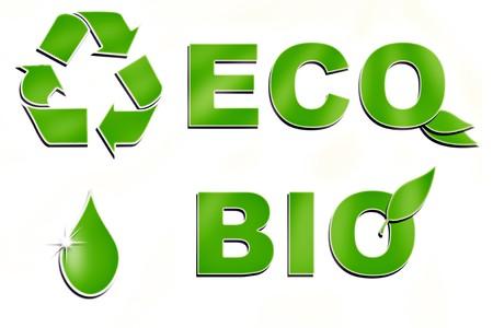 biologic: eco signs set isolated on white
