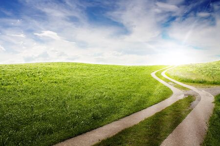 green road: a curved path in the green field with a nice sky and sun in back