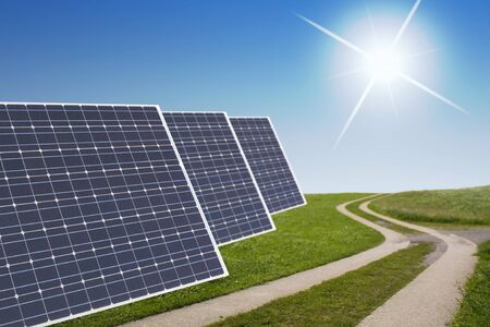 snaky: solar panels concept with solar panels and a snaky path in the green and blue sky with sun