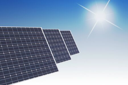 solar cells against smooth blue background with symbolic sun Stock Photo - 7250199