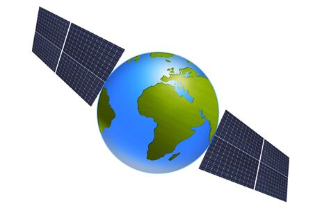 world globe with solar panels against white background Stock Photo - 7250198