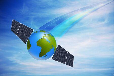 dynamic world globe with solar panels against cloudy sky Stock Photo - 7250197