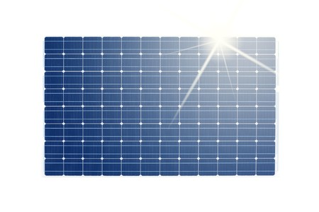 solar panel with sun reflections isolated on white photo