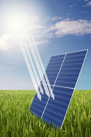 electrics: solar cell with symbolic sun beam illustration Stock Photo