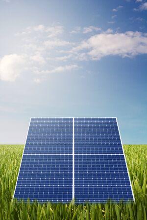 solarenergy: solar panel on  grass field Stock Photo