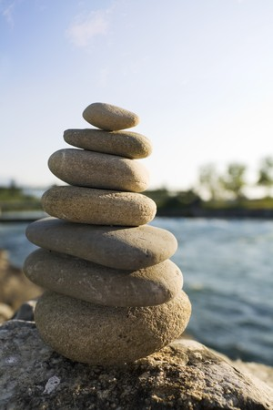 tranquility: zenstones with water background Stock Photo