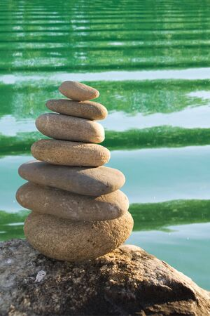 zen stones and water background 스톡 사진