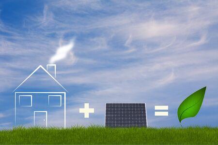 immobile: Adici�n de ecol�gica con solarpanel de la casa y hoja