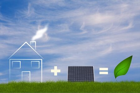 eco addition with house solarpanel and leaf photo