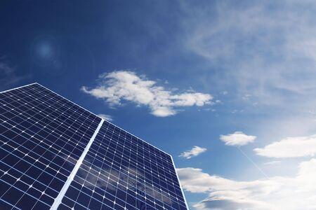 solarenergy: Solar Panel against cloudy sky Stock Photo
