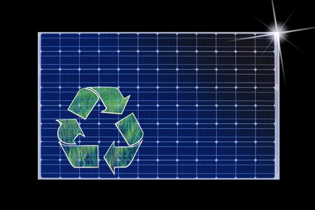 solarpower: solar panel with recycle sign on it isolated on black
