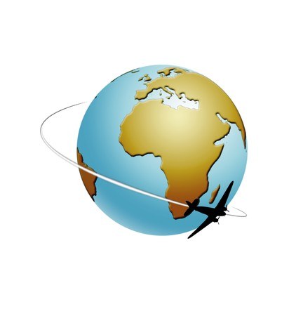 travel globe illustration isolated on white background Stock Photo