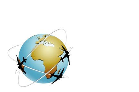 Travel world globe illustration isolated on white background 스톡 사진