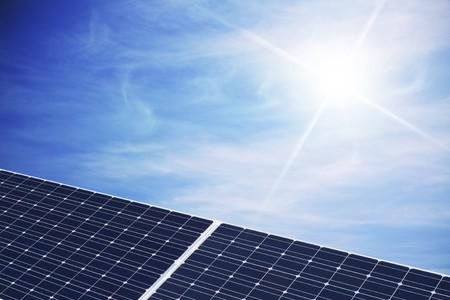 solar cell against sunny sky