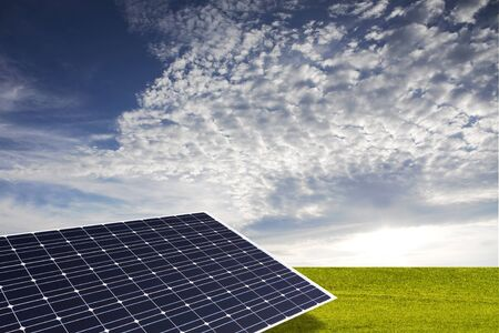 solar panel in the green Stock Photo - 8345215