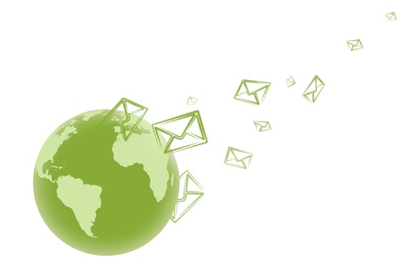 email illustration with world globe