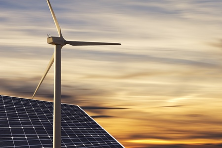 wind power: reneable energies with nice sky in back
