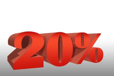 twenty percent rebate 3D illustration
