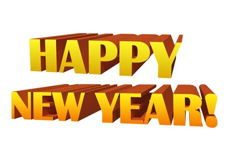 year 3d: Happy new year 3D illustration