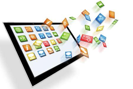 mobile computing: Mobile computing concept illustration isolated on white Stock Photo