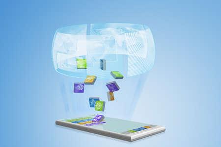 e business: Smartphone hologram illustration