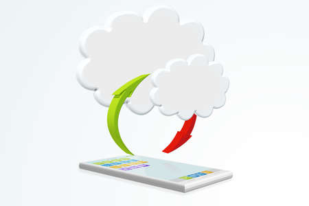 globalism: cloud computing with smartphone illustration isolated on white
