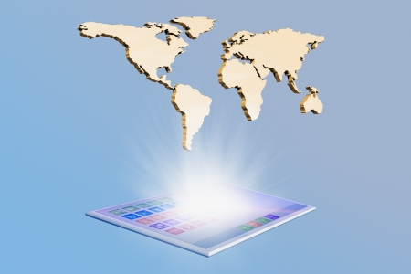 touch pad: Tablet touch pad with world map