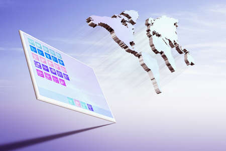 globalism: Tablet computer with world map Stock Photo