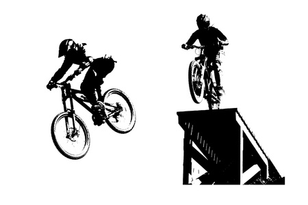 mountainbiking: Mountain bike silhouettes Stock Photo