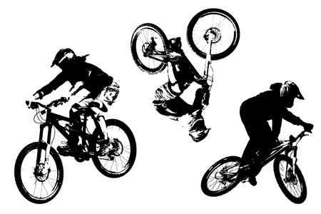 mountainbike: Mountain bike silhouettes Stock Photo