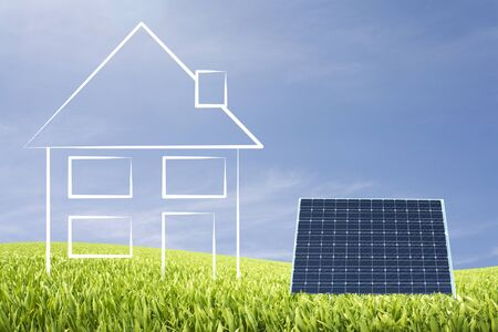 ecologic: Ecologic home illustration with solar cell