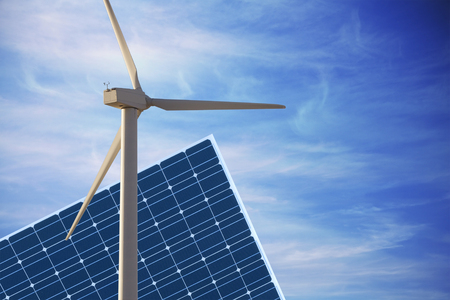 El panel fotovoltaico y la energía ecológica molino de viento de producción