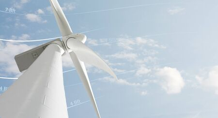 energies: Windmill against sky and space for text Stock Photo