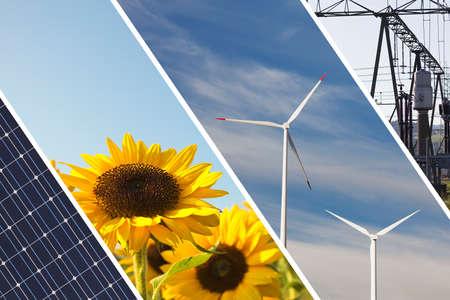 Un collage de las fuentes de energía renovables y alternativas con paneles solares, molinos de viento y girasoles, infraestructura eléctrica Foto de archivo