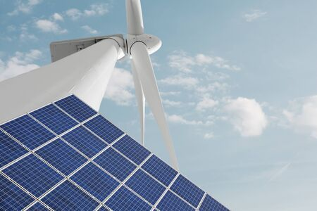ecological environment: Solar panel equipment and windmill for renewable energy production against cloudy sky Stock Photo