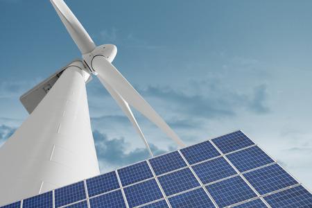 attrezzature Comitato solare e mulino a vento per la produzione di energia da fonti rinnovabili contro il cielo nuvoloso