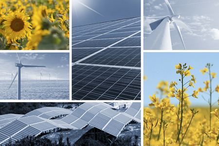 renewable: Ecologic energy collage with solar cell, windmill, sunflowers, and rapeseed flowers