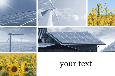 alternative energy sources: Ecologic energy collage with solar cell, windmill, sunflowers, and rapeseed flowers