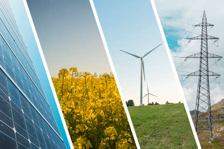 renewable energy: Ecologic and renewable energy - Wind mill, solar panel, rape seed and electricity infrastructure Stock Photo