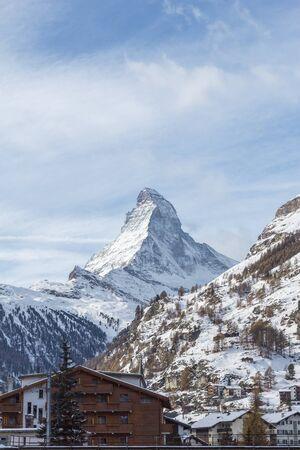 Matterhorn view from the Valley Zermatt in switzerland Stock Photo