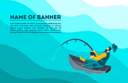 Vector flat colorful illustration - fisherman catches a fish - banner, postcard, poster