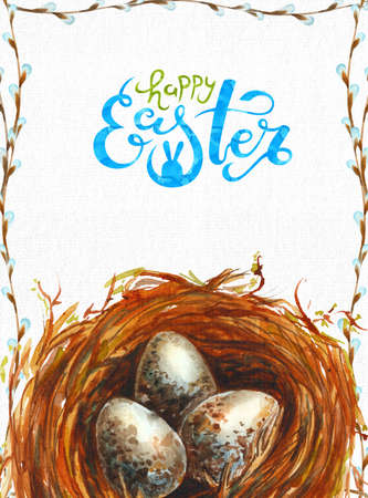 Watercolor illustration Happy Easter. Art with cute lettering and nest with quail eggs. International Spring Celebration Design with Lettering for Greeting Card, Party Invitation Imagens