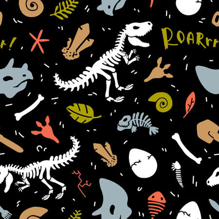Dinosaur skeleton and fossils. Vector seamless pattern. Original design with t-rex, dinosaur bones, stones, traces, plants and eggs. Print for T-shirts, textiles, web. Black background.